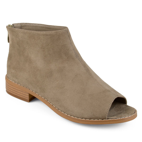 Open Toe Faux Suede Booties