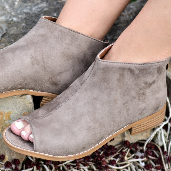 Open Toe Faux Suede Ankle Booties