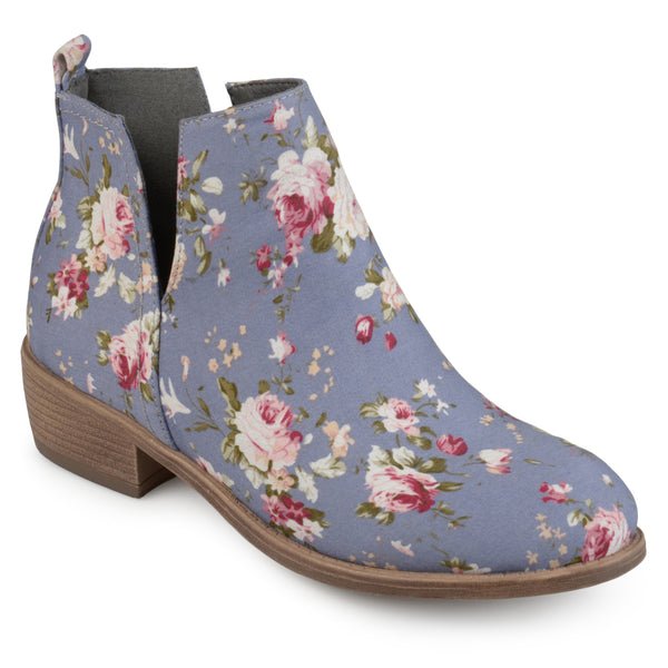 Floral Round Toe Side Slit Booties