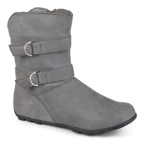 Buckle-Strap Mid-calf Boots