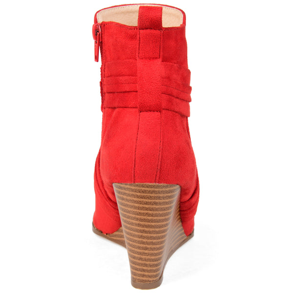 Criss-Cross Open Toe Wedge Bootie
