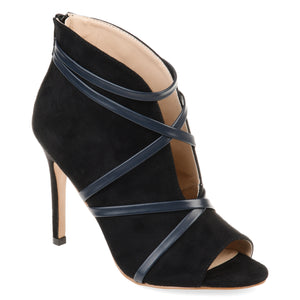 Strappy Deep Cut Open Toe Bootie Heel