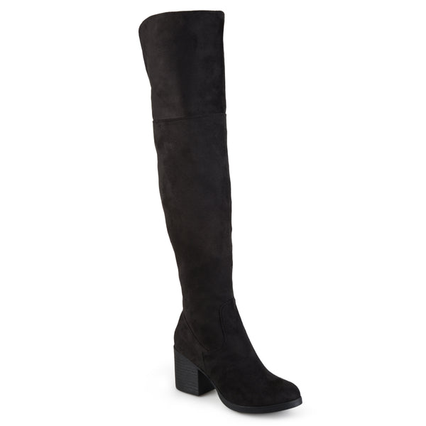 Wide Calf Faux Suede Tall Round Toe Boots