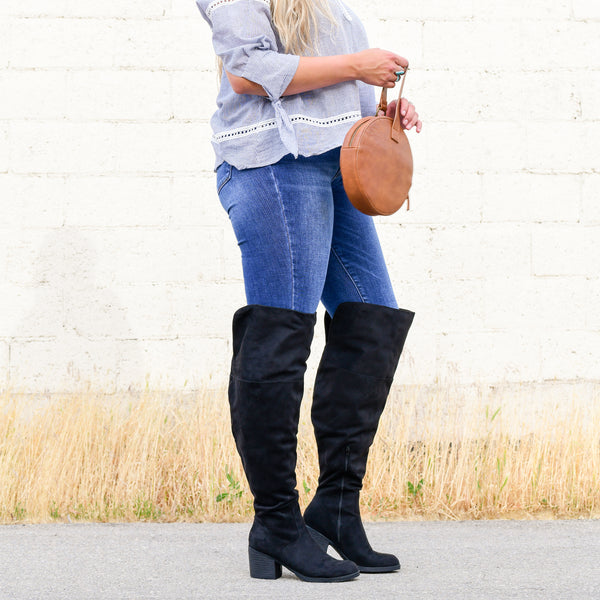 Faux Suede Tall Round Toe Wide Calf Boot