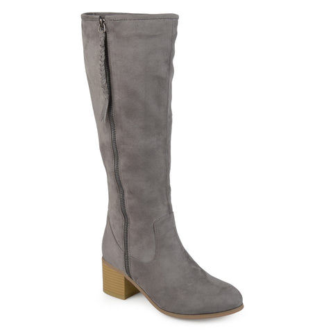 Stacked Wood Faux Suede Heel Mid-calf Boots