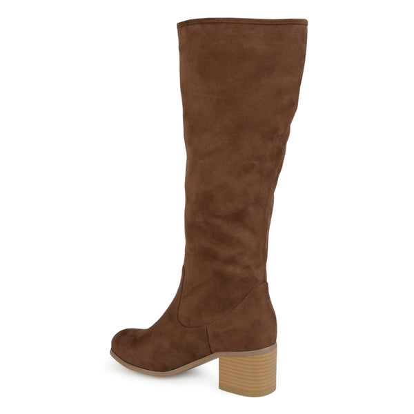 Wide Calf Braided Zipper Knee-High Heeled Boot