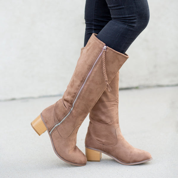 Braided Zipper Knee-High Heeled Boot