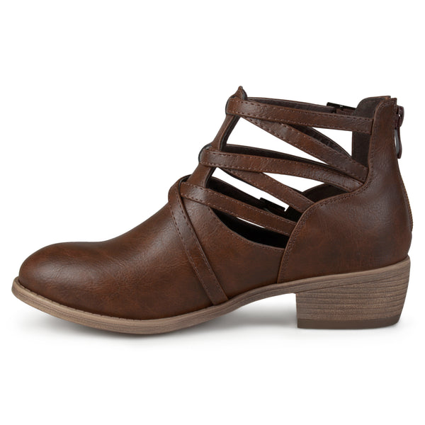 Strappy Faux Leather Booties