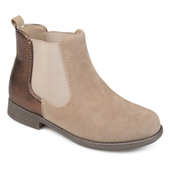 Faux Suede Two-tone Chelsea Boots