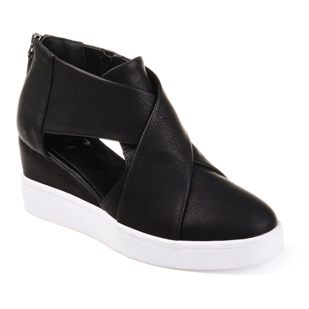 d0a29ad263c Criss-Cross Cut Out Wedge Sneaker – Journey + Crew