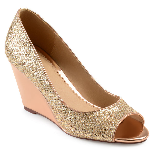 Open-toe Metallic Glitter Wedges