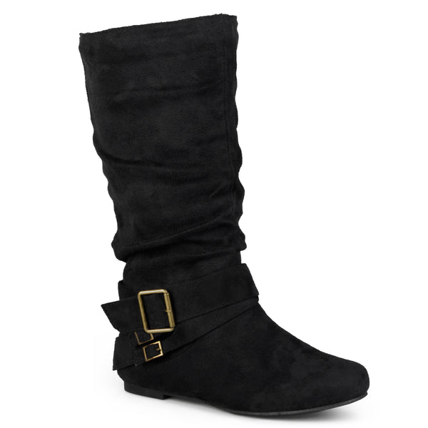 Buckle Accent Slouch Boot Wide Calf