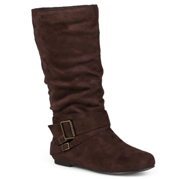 Buckle Accent Slouch Mid-Calf Pull-on Boot