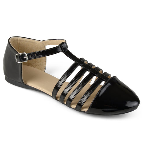 Caged T-strap Faux Patent Flats
