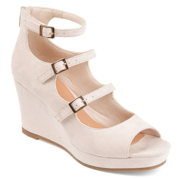 Triple Buckle Strap Open Toe Wedge