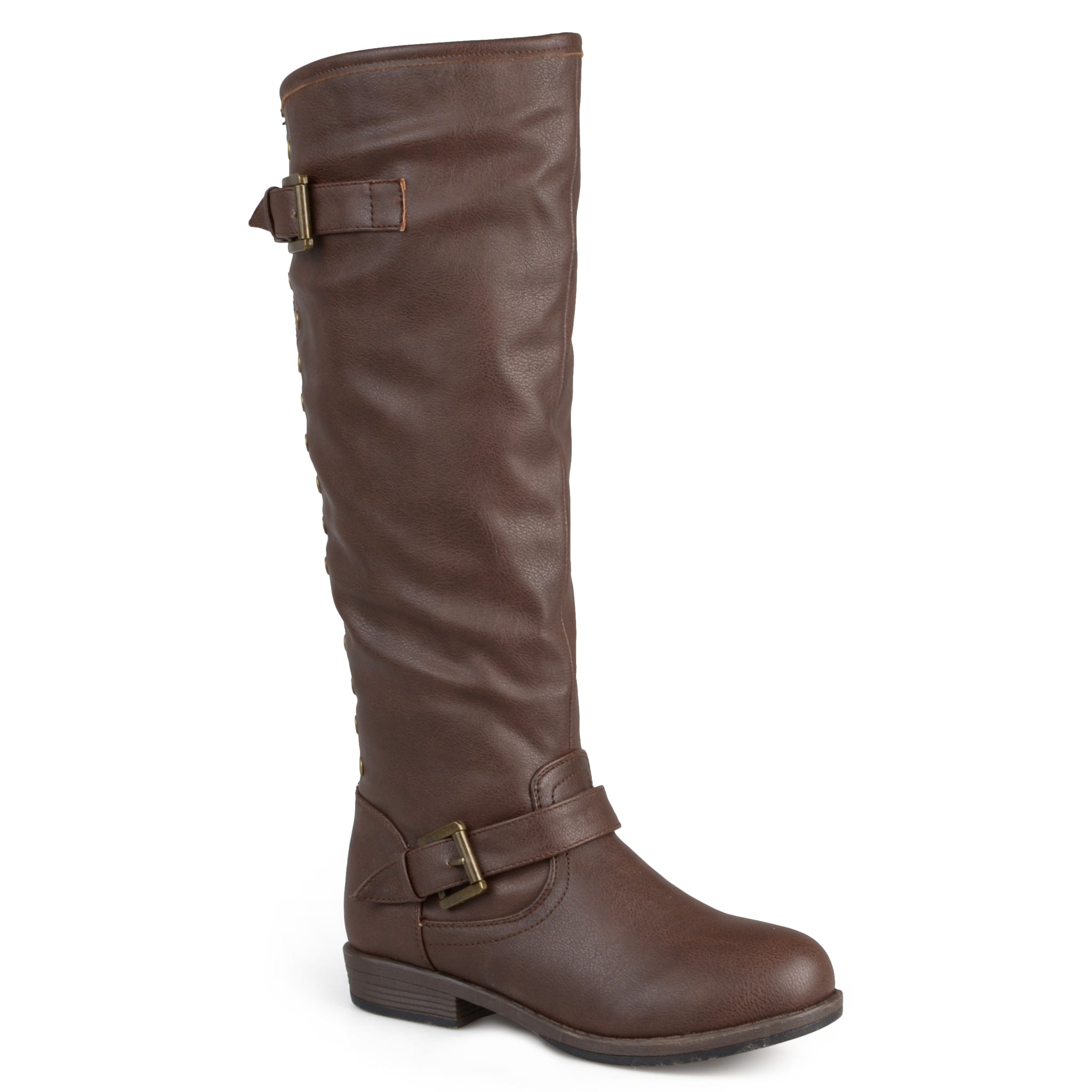Distressed Knee-High Buckle Riding Boot