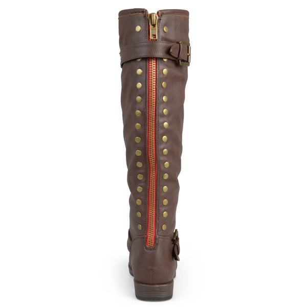 Distressed Knee-High Buckle Riding Wide Calf Boot
