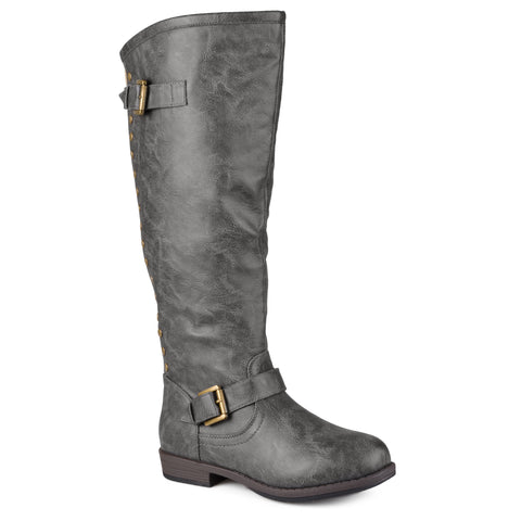Wide-Calf Studded Knee-High Riding Boot