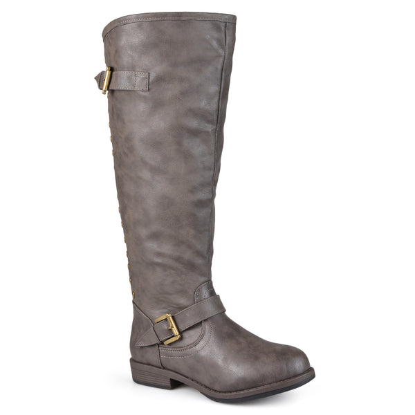 Wide Calf Distressed Knee-High Buckle Riding Boot