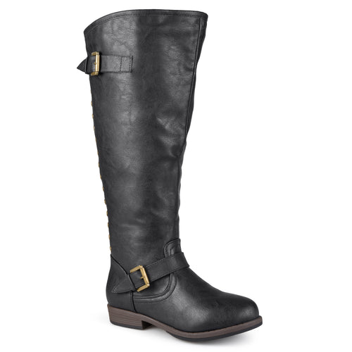 Xwide Calf Distressed Knee-High Buckle Riding Boot