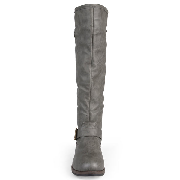 Distressed Knee-High Buckle Riding Extra Wide Calf Boot