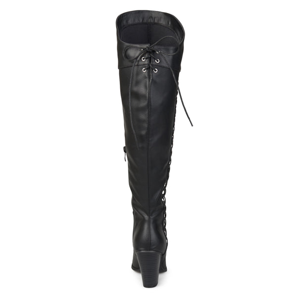Faux Lace-up Distressed Over-the-knee Boots