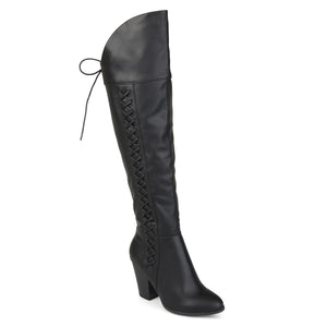 Lace-up Side Knee-High Boots Wide Calf