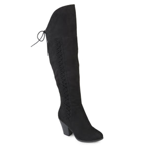 Lace-up Side Knee-High Suede Boots Wide Calf