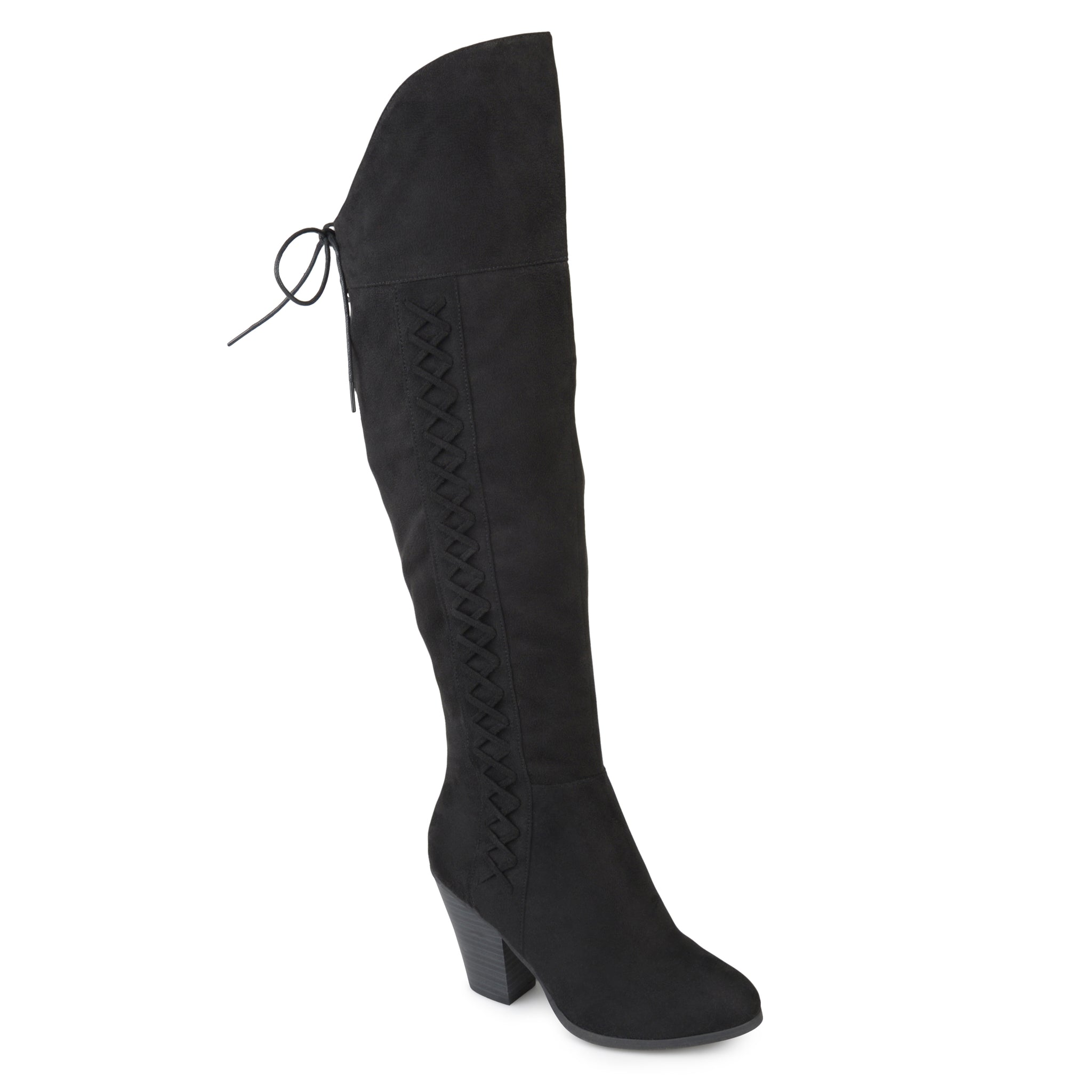 Lace-up Side Suede Knee-High Boots