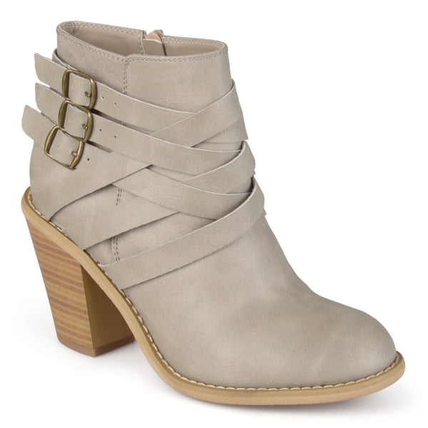 Multi-Strap Buckle Heeled Bootie