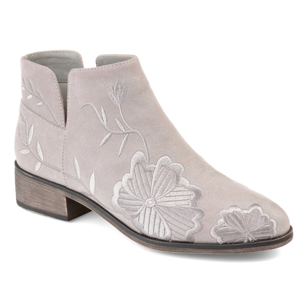 Embroidered Faux Suede Ankle Bootie