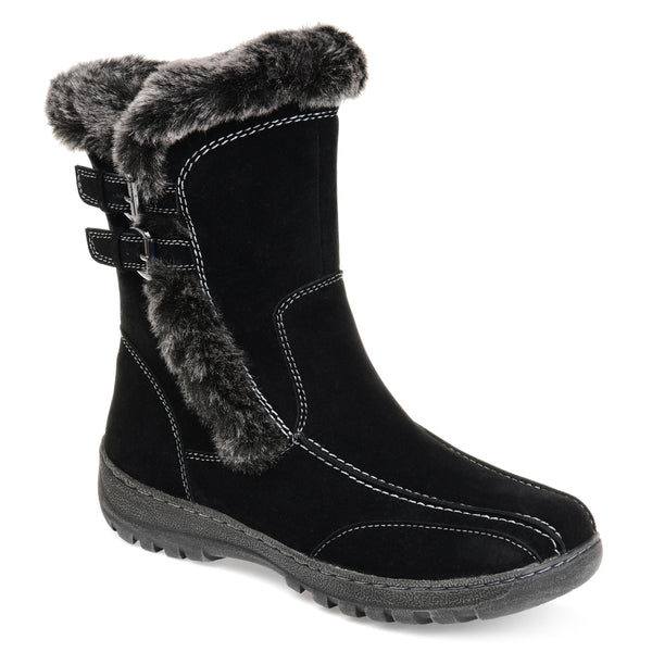 Buckle Accent Faux Shearling Boot