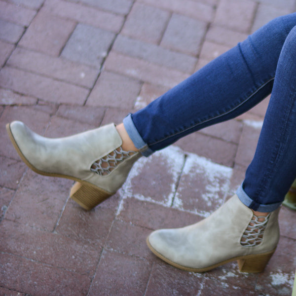 Stacked Wood Heel Faux Leather Booties