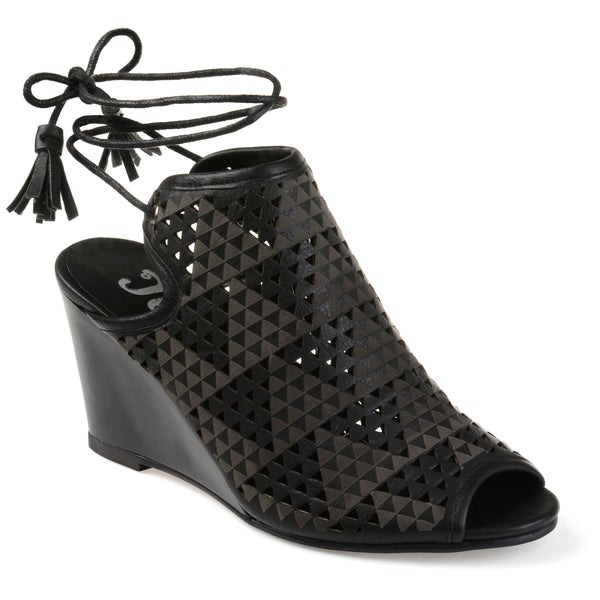 Geometric Lasercut Lace Up Wedge