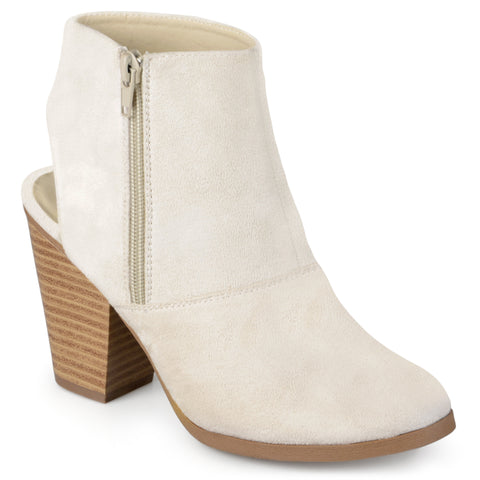 Faux Suede Cut-out Heel Booties