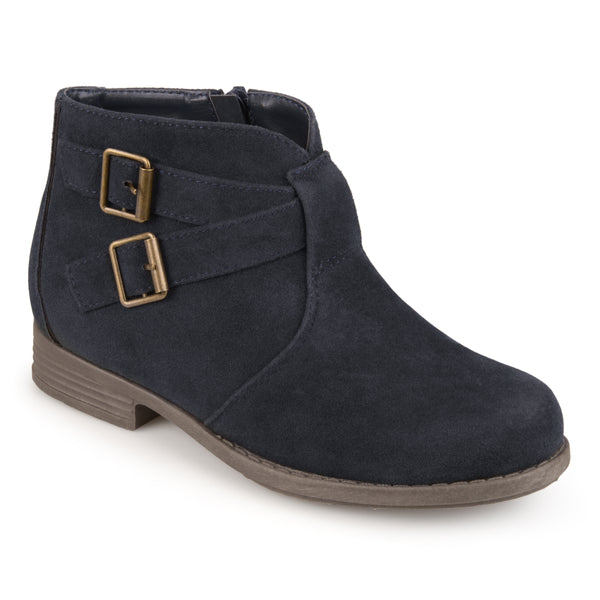Faux Suede Buckle Boots