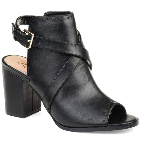 Cross Strap Backless Bootie