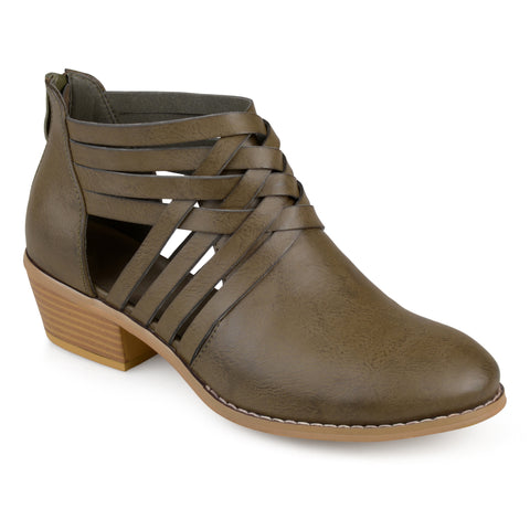 Faux Leather Criss Cross Booties