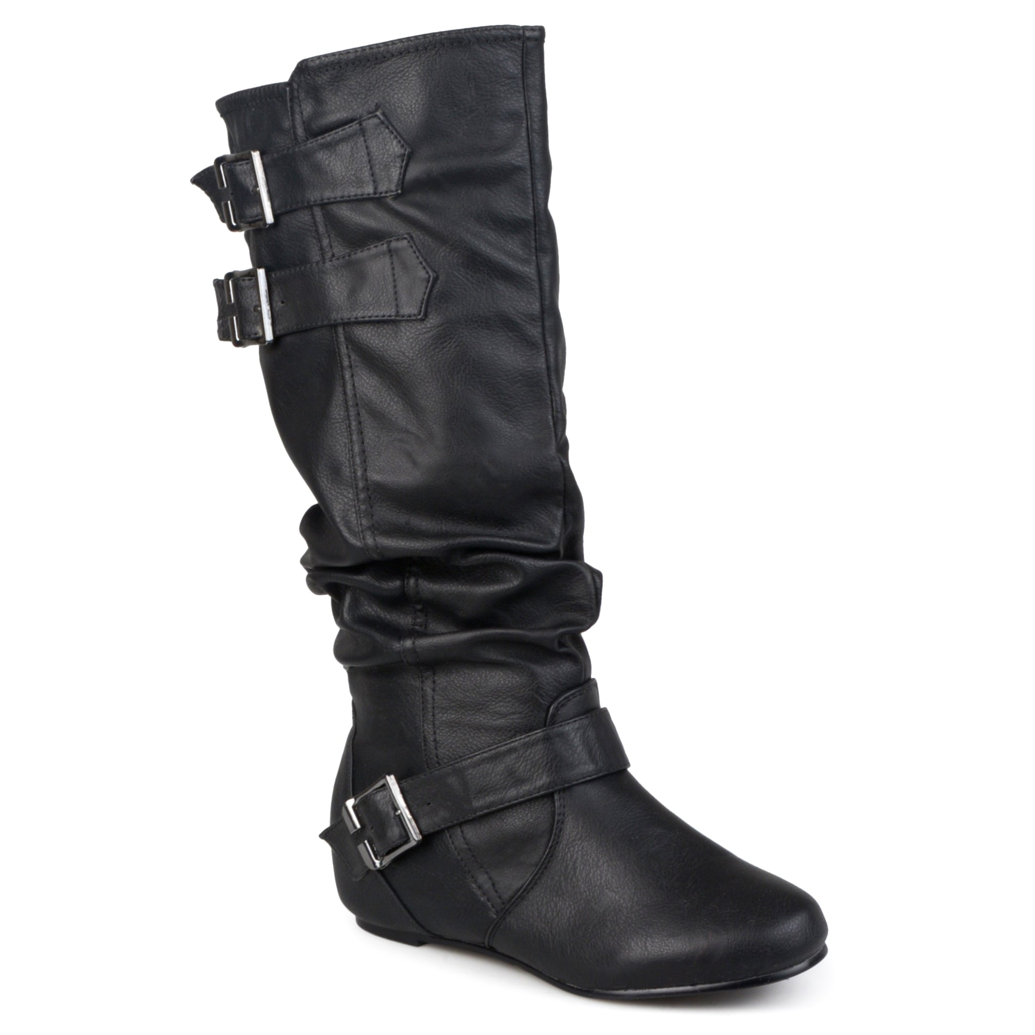 Xwide Calf Buckle Slouch Low-Wedge Boot