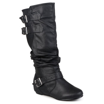 Buckle Slouch Low-Wedge Boot