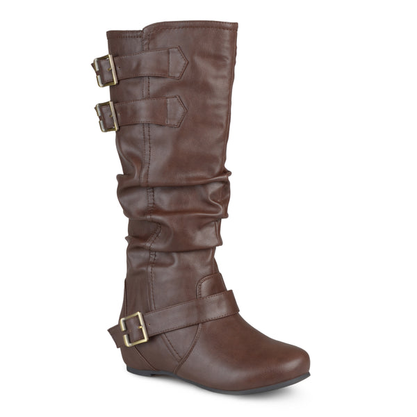 Wide Calf Buckle Slouch Low-Wedge Boot