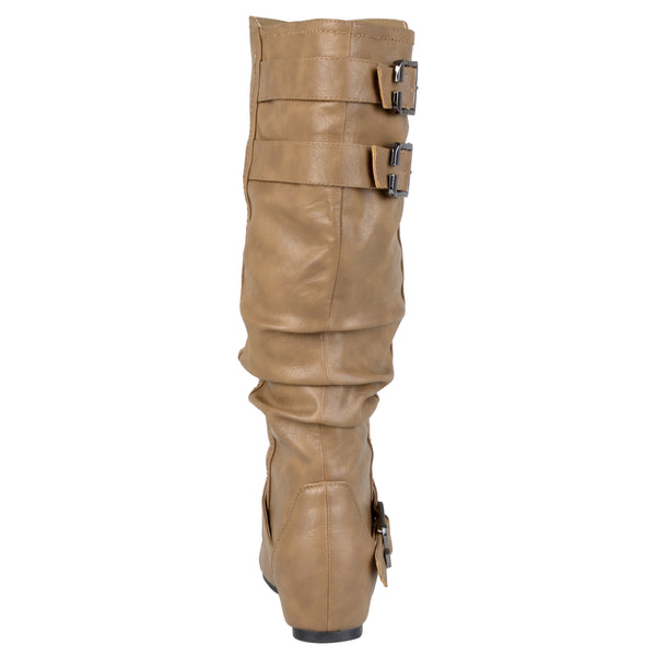 Buckle Slouch Low-Wedge Wide Calf Boot