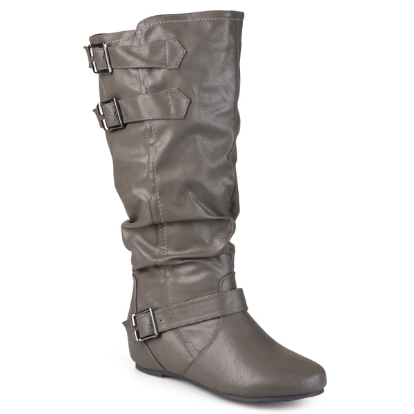 Buckle Slouch Low-Wedge Extra Wide Calf Boot