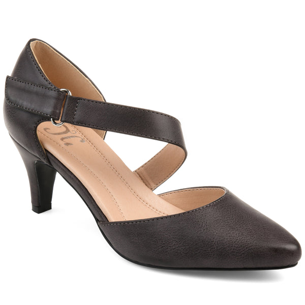 Comfort Cross Strap Almond Toe Pump