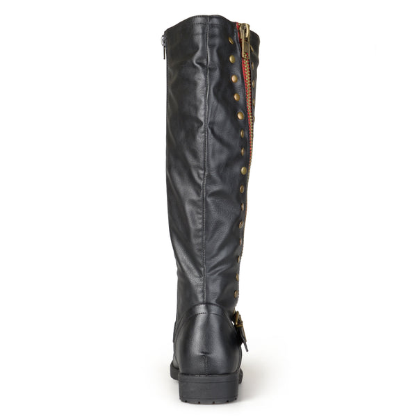 Studded Zipper Riding Boots