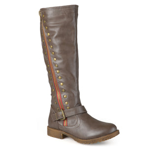 Wide Calf Studded Zipper Riding Boots