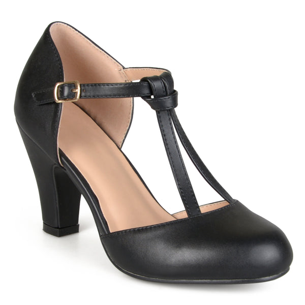 T-strap Round Toe Mary Jane Pumps