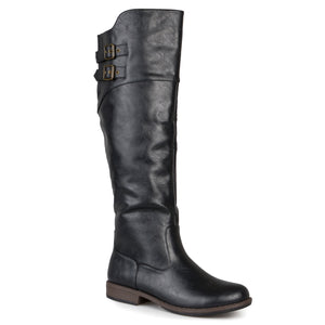 Xwide Calf Double-Buckle Knee-High Riding Boot