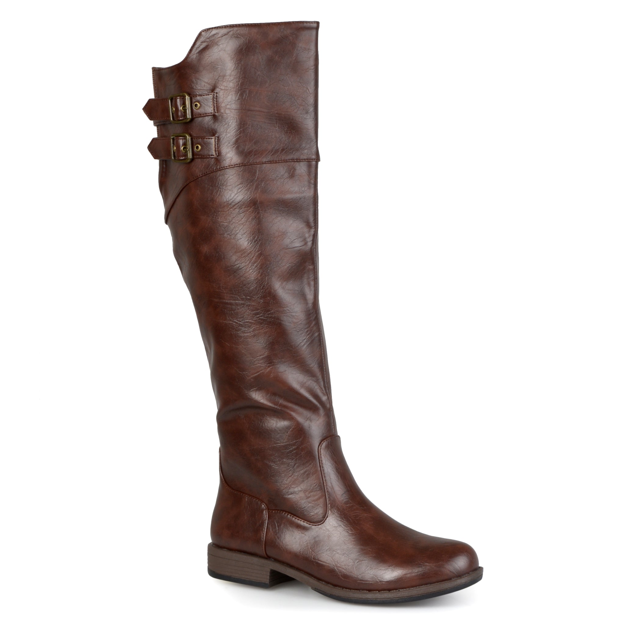 Double-Buckle Knee-High Riding Boot