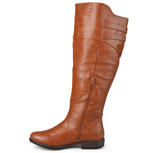 Wide Calf Double-Buckle Knee-High Riding Boot